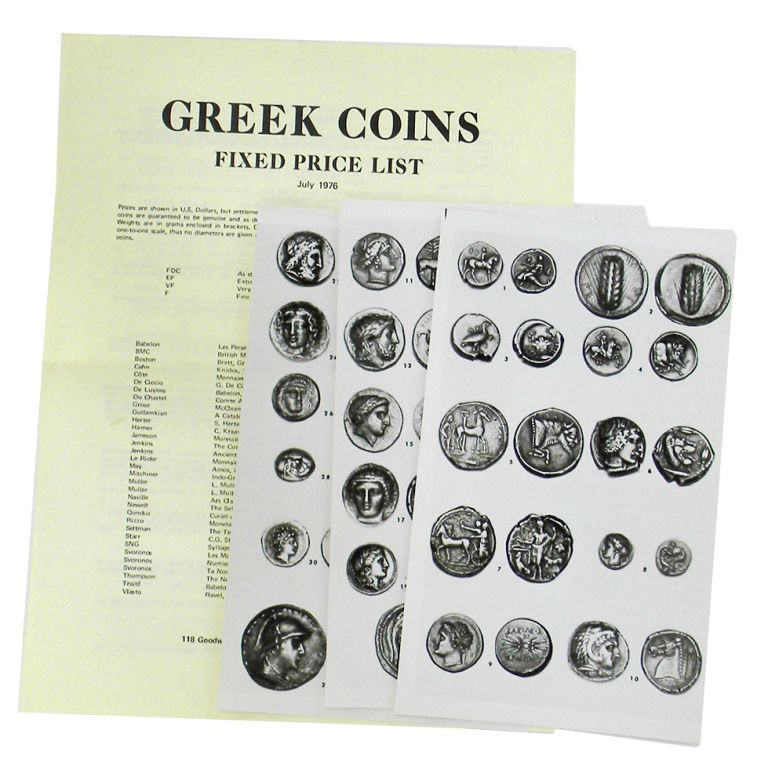 GREEK COINS: FIXED PRICE LIST. Charles Adams.