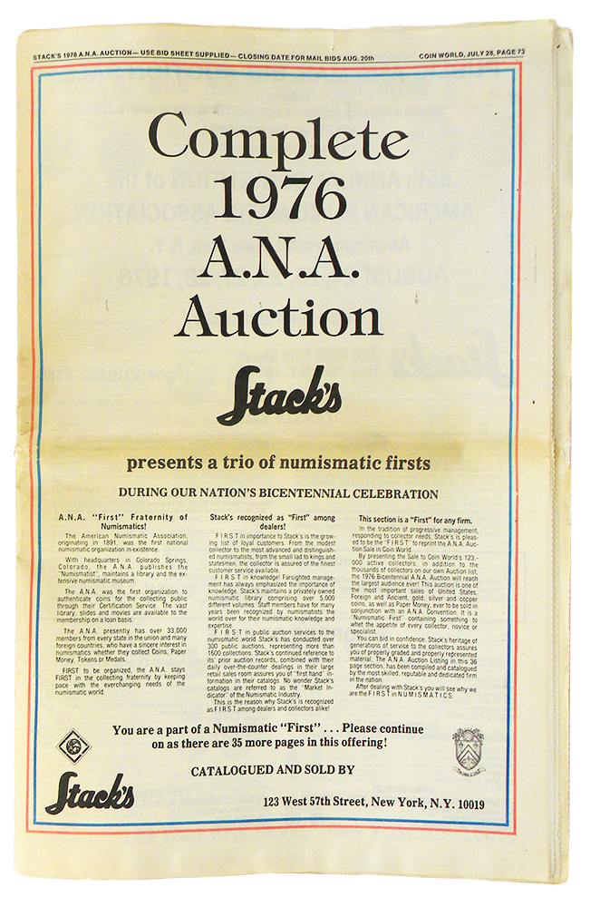 COMPLETE 1976 A.N.A. AUCTION. Stack's.