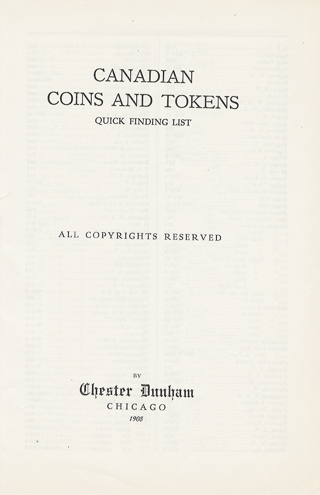 CANADIAN COINS AND TOKENS: QUICK FINDING LIST. Chester Dunham.