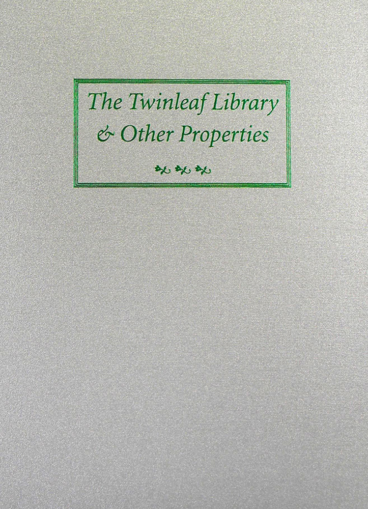 AUCTION SALE ONE HUNDRED SEVEN. THE TWINLEAF LIBRARY. George Frederick Kolbe.