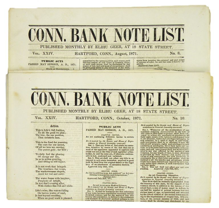 CONN. BANK NOTE LIST. Vol. XXIV, Nos. 8 and 10 (Aug. and Oct. 1871). Elihu Geer.