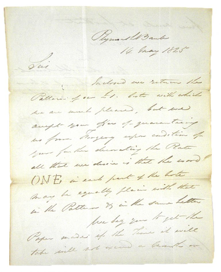 1825 LETTER TO PERKINS & HEATH REGARDING PLATES FOR £1 NOTE ON THE PLYMOUTH BANK. Tingcombe Elford, Clark.