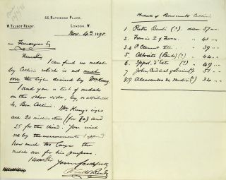 HANDWRITTEN LETTER, SIGNED, DATED NOVEMBER 4, 1898, ON THE MEDALS OF BENVENUTO CELLINI. W. Talbot Ready.