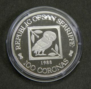 FIRST FINE SILVER COINAGE OF THE REPUBLIC OF SAN SERRIFFE: THE BIRD & BULL PRESS COMMEMORATIVE 100 CORONAS. INCLUDING AN ACCOUNT OF THIS LEGENDARY REPUBLIC AND ITS CONNECTION WITH THE BIRD & BULL PRESS. WITH A DESCRIPTION OF SIMILAR NUMISMATIC RARITIES AND A 30-YEAR CHECKLIST OF WORK PRODUCED BY THE PRESS, 1958–1988.