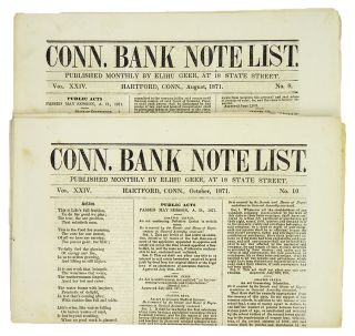 CONN. BANK NOTE LIST. Vol. XXIV, Nos. 8 and 10 (Aug. and Oct. 1871). Elihu Geer