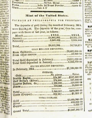 COMPLETE ISSUE OF A SAN FRANCISCO NEWSPAPER, WITH NUMISMATIC CONTENT, PUBLISHED ON THE DAY THE SAN FRANCISCO MINT OPENED.; Volume IV, Number 305